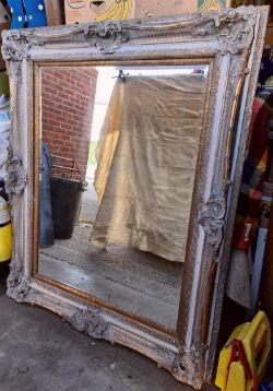 Vintage Large Bevelled Mirror In Carved wood Frame