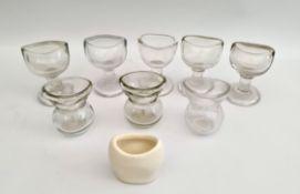 Vintage Antique 8 x Clear Glass Eye Baths & 1 Ceramic