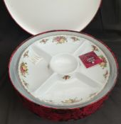 Vintage Royal Albert Old Country Rose Chip & Dip Platter Boxed
