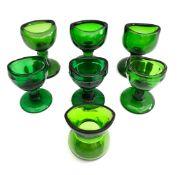 Vintage Antique 7 x Green Glass Eye Baths