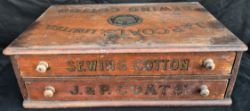 Antique Advertising J & P Coats Cottons Shop Counter Drawers
