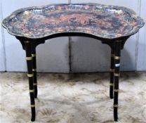 C19th chinoiserie tray on stand
