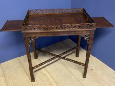 A George III style fretwork silver table