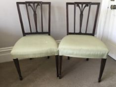 C18th pair of Hepplewhite chairs with prince of wales feather carved back