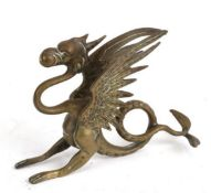 C19th brass griffin or wyvern