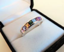 Sterling Silver Multi Colour Gemstone Ring