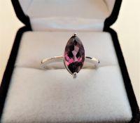Sterling Silver Purple Tourmaline Ring