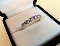 Sterling Silver 7 Stone Tanzanite Half Eternity Ring