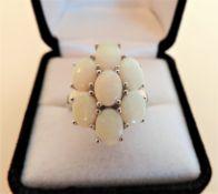 5.46 carat Topaz Flower Cluster Ring in Sterling Silver