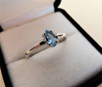 Sterling Silver Marquise Cut Topaz Ring