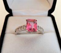 Sterling Silver 3.40 carat Pink Topaz & Diamond Ring