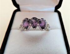 Sterling Silver 1.95 carat Pear Cut Amethyst Ring