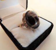 Sterling Silver Gilt Tigers Eye Stone Set Ring