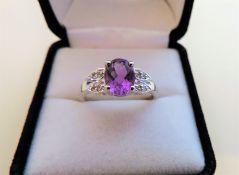 Sterling Silver 1.25 carat Amethyst Ring
