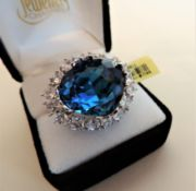 Sterling Silver Blue and White Stone Set Ring