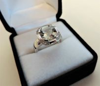 925 Sterling Silver Pale Green Sapphire Set Ring