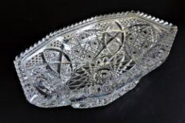 Large Vintage Bohemian Crystal Bowl 31cm Long