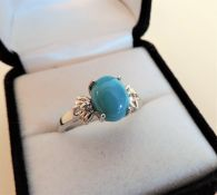 Cabouchon Turquoise Ring in Sterling Silver