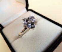 Sterling Silver 1.20ct Pear Cut Tanzanite Ring