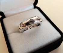 Sterling Silver White Stone Set Band Ring