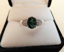 925 Sterling Silver 2.3ct Green Tourmaline Gemstone Ring