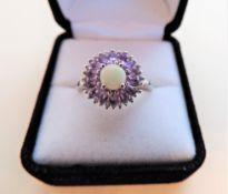Amethyst & Opal Sterling Silver Ring