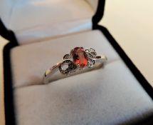 Orange Sapphire 925 Sterling SIlver Ring