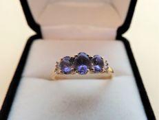 Sterling Silver Gilt Tanzanite & Diamond Ring