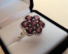 4.55 Carat Pink Sapphire Cluster Ring in Sterling Silver