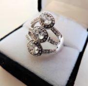 925 Sterling Silver 3.3carat White Topaz Ring