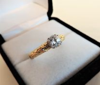 Sterling Silver Gilt 0.56 ct White Sapphire Solitaire Ring