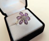 Amethyst & White Stone Flower Shaped Sterling Silver Ring