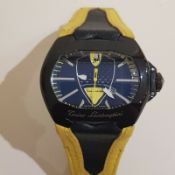 Tonino Lamborghini Wrist Watch, Large Face, 50mm, Hublot Geneve Leather Strap