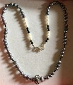 Swarovski and silver pearl necklace black spinel