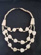Unusual Vintage Bone Necklace.