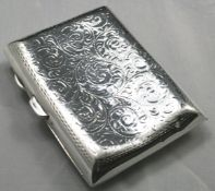 Edwardian Solid Silver Cigarette Case by Joseph Gloster 1906