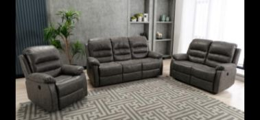 Brand new boxed Cartier 3 seater plus 2 seater grey electric reclining sofas