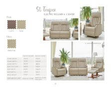 Brand new boxed st tropez electric reclining sofas in sandstone fabric