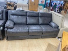 Brand new boxed 3 seater cheltenham electric reclining sofa in dark grey leather