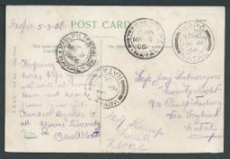 Natal Bambata 1906 Picture postcard posted unstamped by Corporal Edward Abbott of the Natal Carbi...