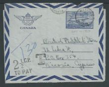 "Cyprus 1950 Canada 10c air letter to Nicosia marked ""T30"", handstamped ""T' and scarce ""2.1/2C.P. /"