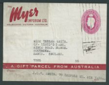 Australia 1946 King George VI 3/7d maroon Myers Emporium Food Parcel Label complete (small faults...