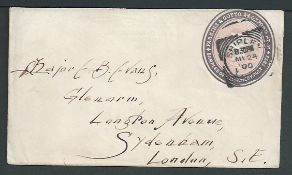 Great Britain - Advertising Rings 1900 1d Pink envelope with 'Parkins & Gotto 24 Oxford St. W. samp