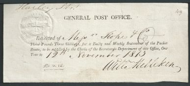 G.B. - Newspapers 1813 G.P.O. Receipt for £3.3.0 received for supplying a daily and weekly
