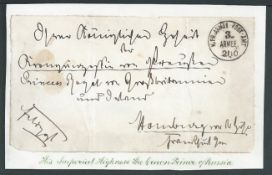 Germany - Franco Prussian War 1870 Stampless front with Prussian 3rd Army Field Post c.d.s. address