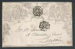 G.B. - Mulreadys 1843 1d Lettersheet stereo A67 (small closed file hole) used from Wincanton to Lon