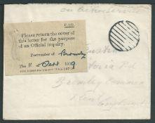 "G.B. - World War One/Kent 1919 Stampless Envelope endorsed ""On Active Service"""