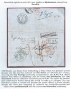 "Denmark / Sweden 1862 Entire letter from Gothenburg to Paris endorsed ""p. Orion"", posted into th..."