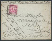 Cape of Good Hope 1897 Cover from Cape Town to England franked at the soldier's 1d concession rate