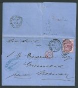 G.B. - Yorkshire 1875 Entire letter franked 3d from West Hartlepool to Norway with the scarce octago